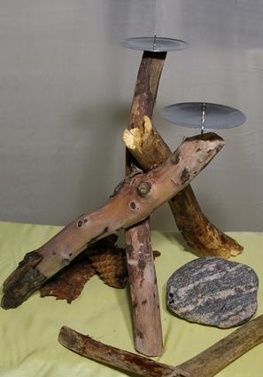 Kerzenständer aus Treibholz