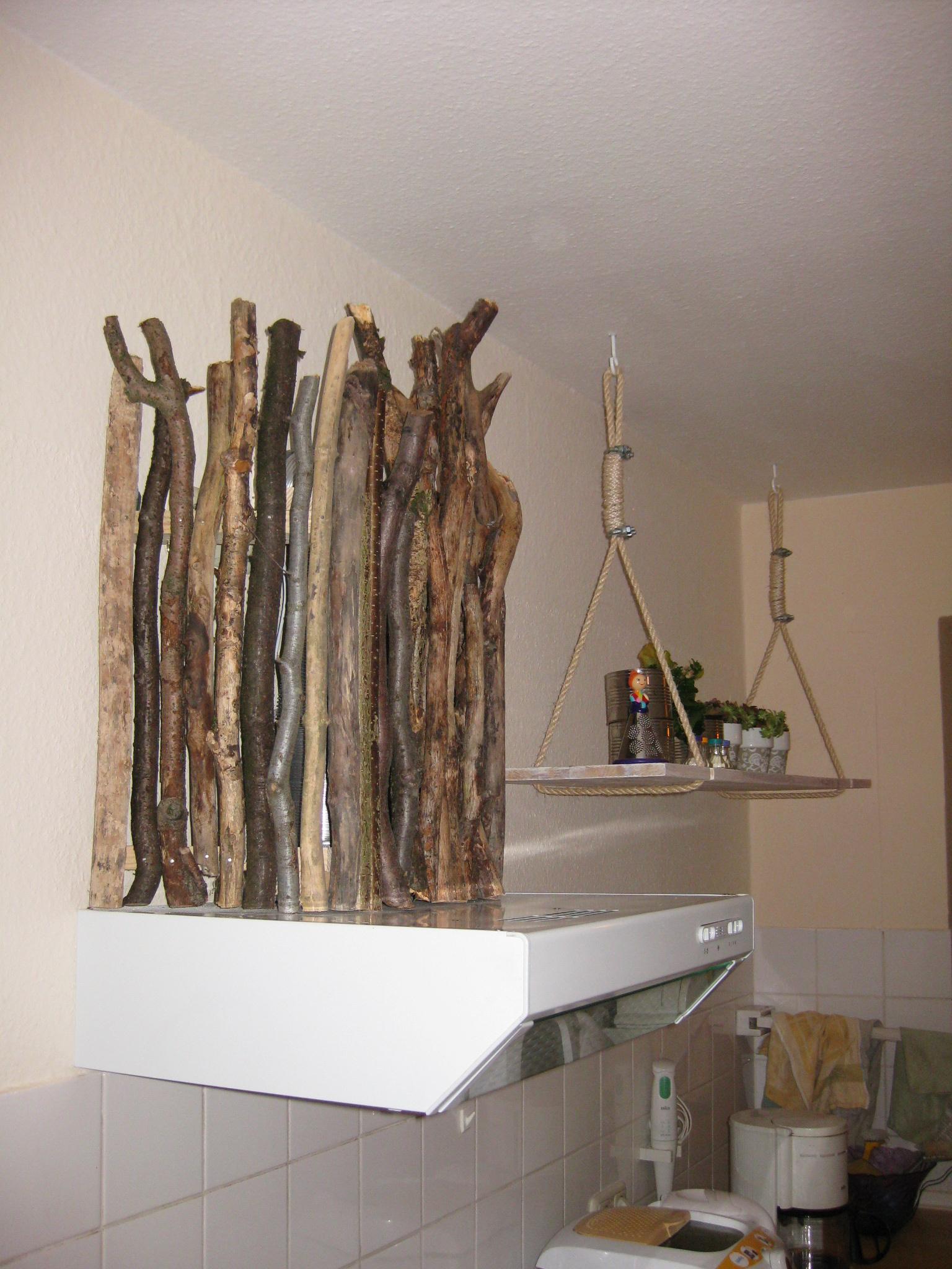 Treibholz  zur Verkleidung des Abzugsrohr an der Dunstabzugshaube