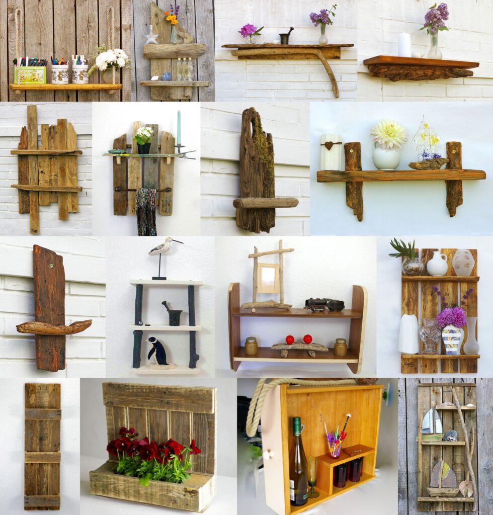 Diy Vorschläge für schöne Regale aus Treibholz und Holz von Einwegpaletten