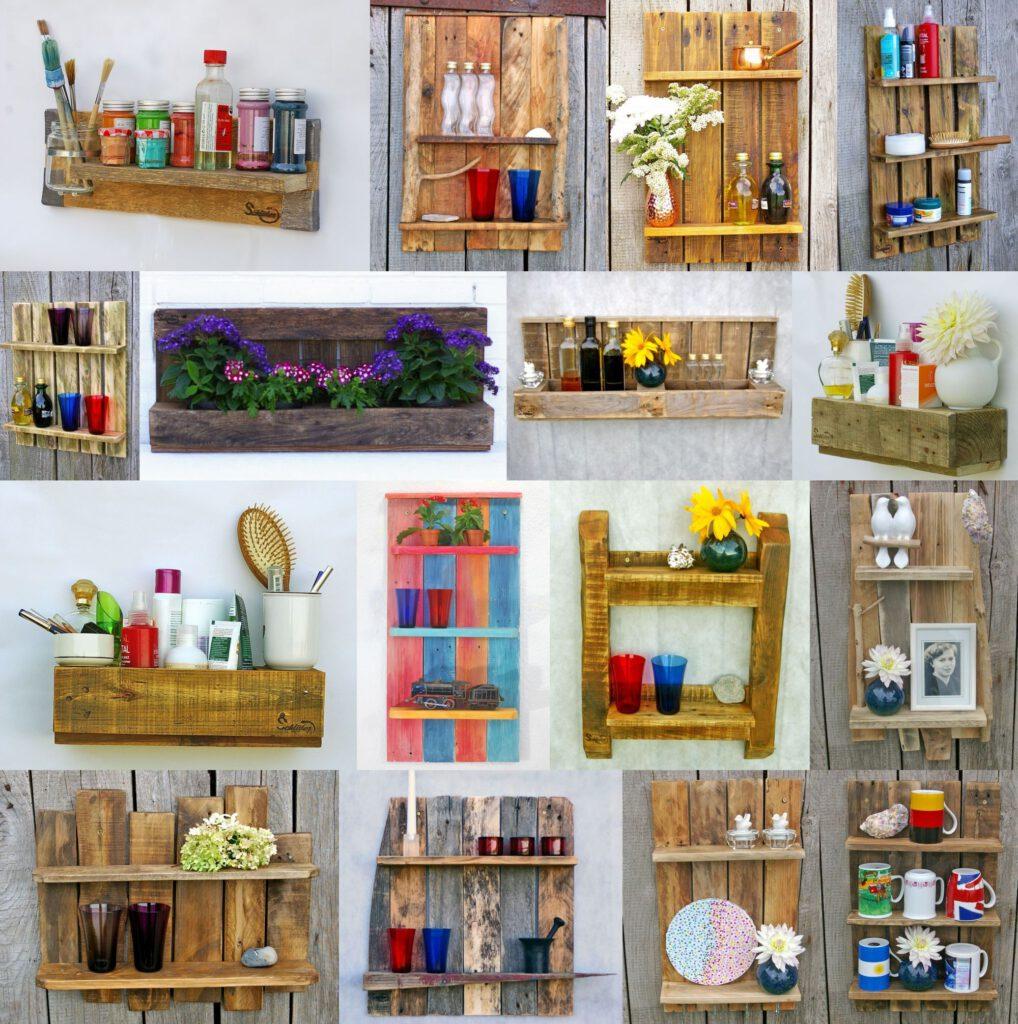 Regale aus dem Holz von Paletten, Wandregal, Hängeregale, Küchenregale, Badregale,