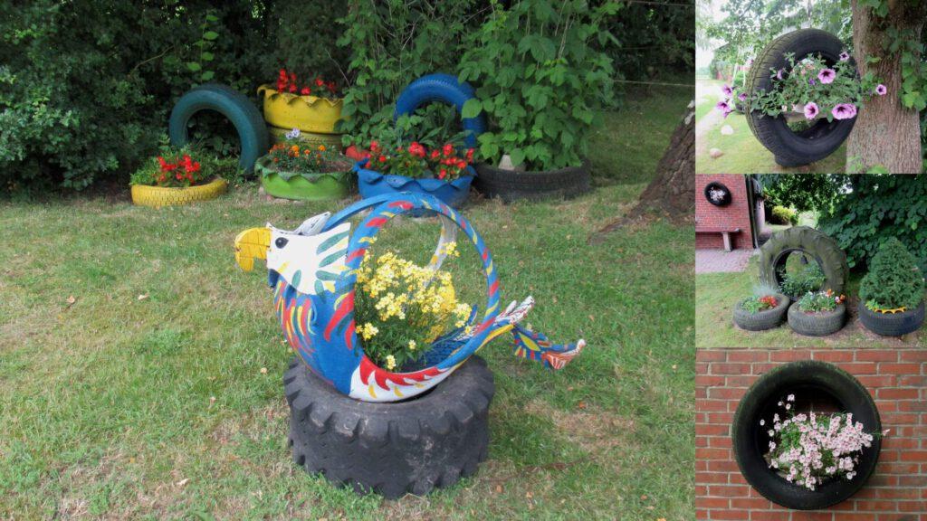 alte Autoreifen als Gartendekoration, Upcyclingideen zum Nachmachen